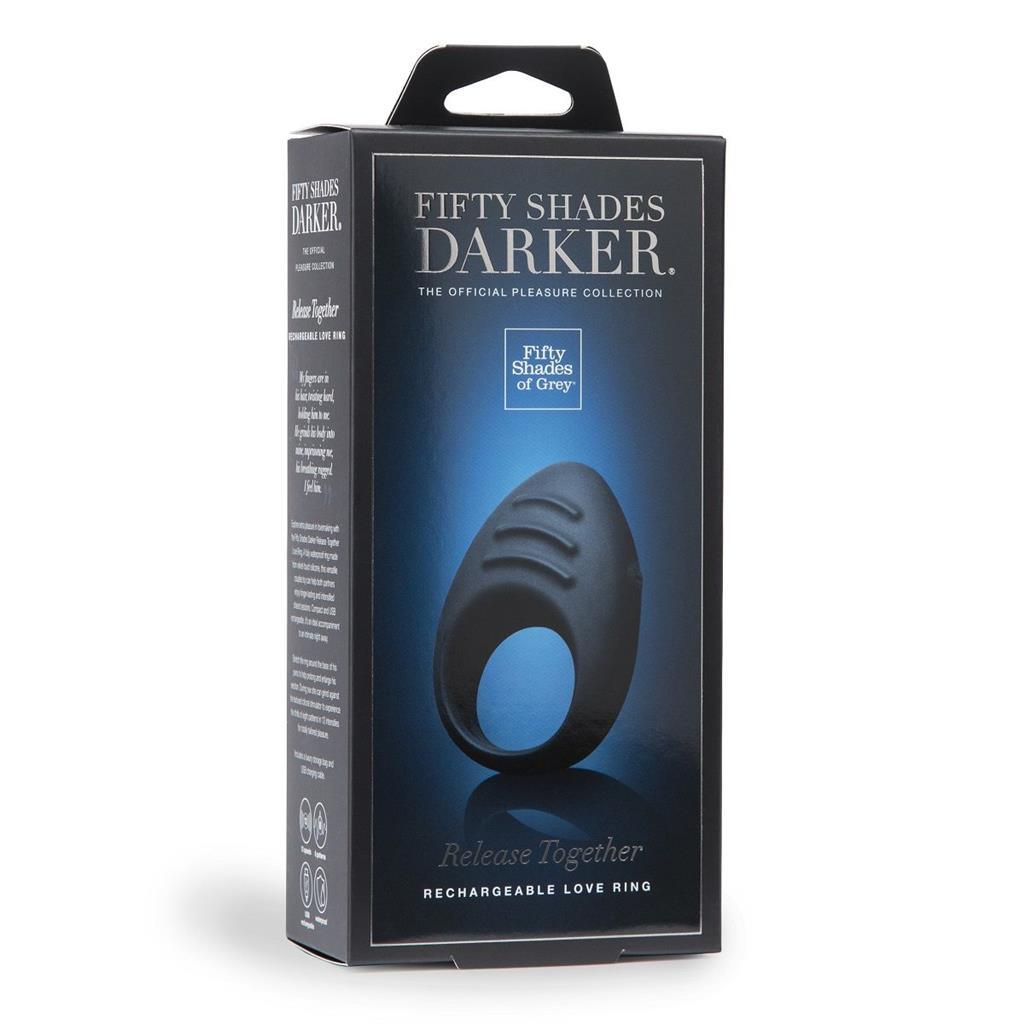 Тёмно-синее эрекционное кольцо DARKER RELEASE TOGETHER LOVE RING