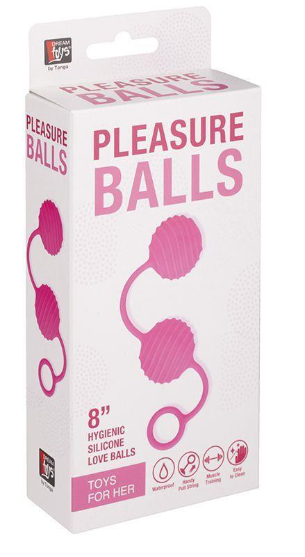 Розовые вагинальные шарики с ребристым рельефом
