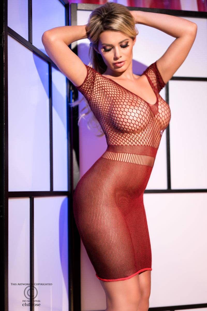 Облегающее платье с сеткой на груди