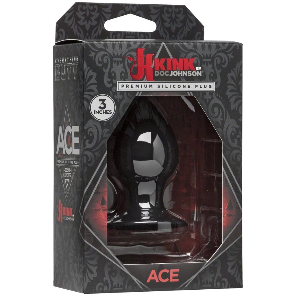 Малая чёрная анальная пробка Kink Ace Silicone Plug 3 - 8,26 см.