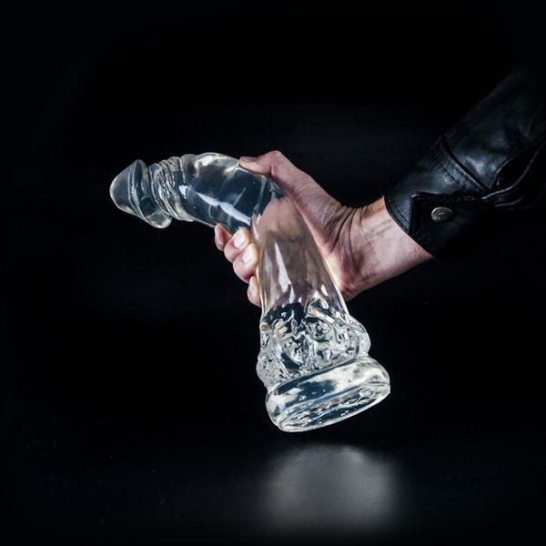 Прозрачный фаллос-гигант Dark Crystal Dennis - 35 см.