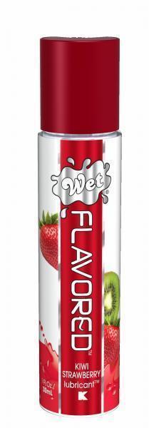 Лубрикант Wet Flavored Kiwi Strawberry с ароматом киви и клубники - 30 мл.