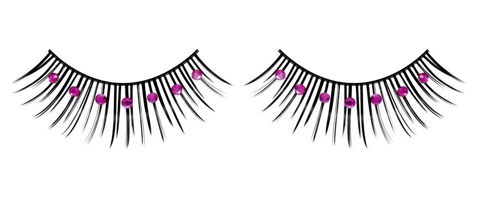 Чёрно-фиолетовые ресницы со стразами