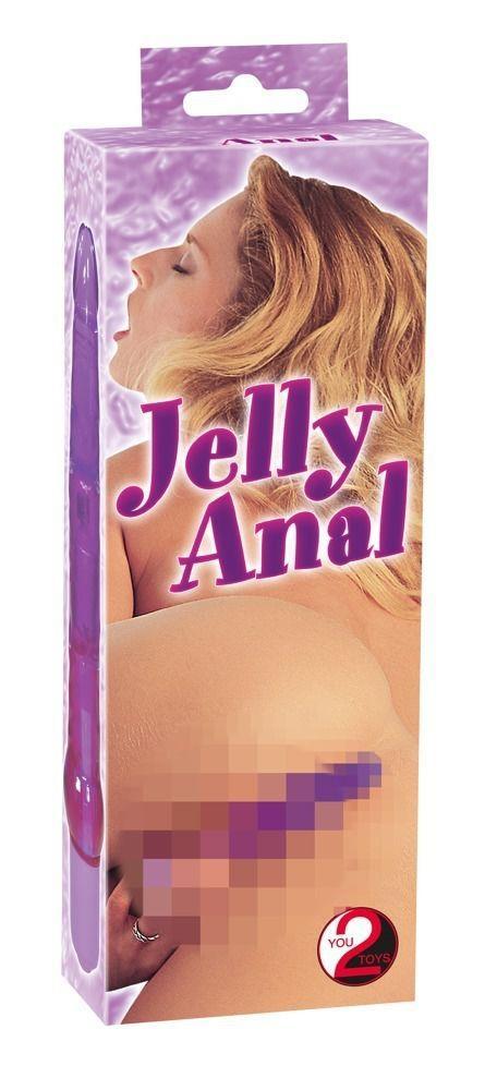Фиолетовый гелевый анальный вибратор Jelly Anal (17 см)