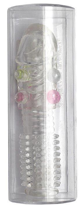 Прозрачная насадка с шипиками и бусинами - 14,5 см.