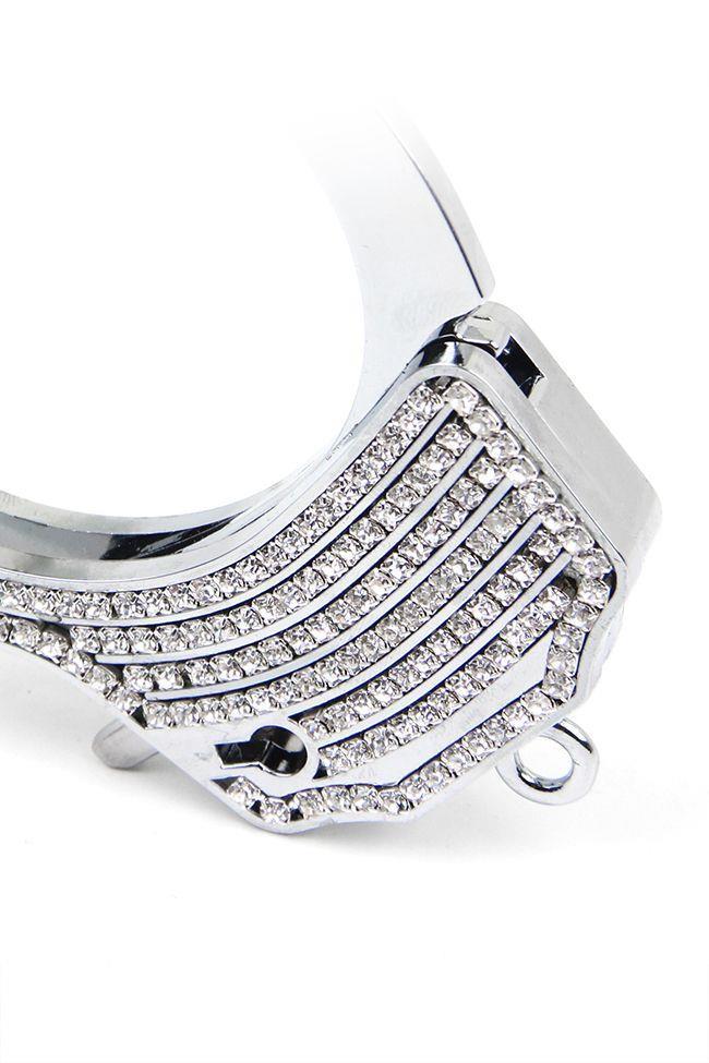 Серебристые наручники Romfun из металла со стразами