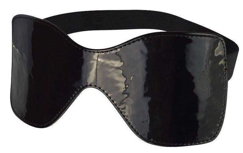 Черная лаковая маска на резиночке