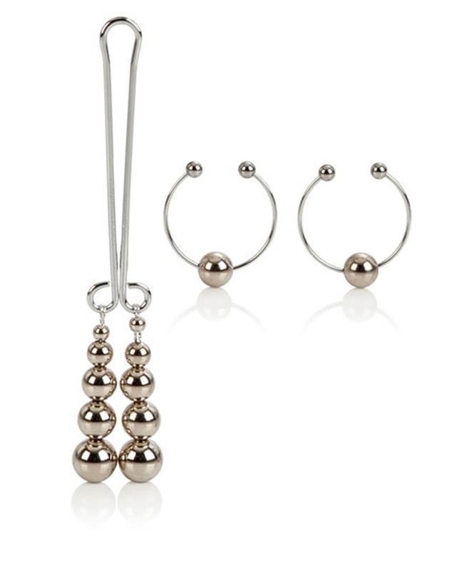 Серебрянный комплект: зажим на половые губы и cеребряные шарики