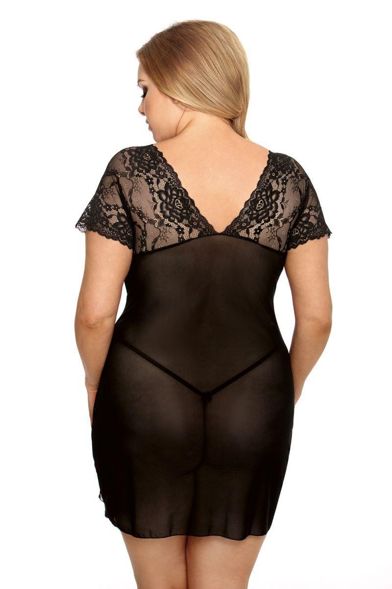 Прозрачная сорочка Marina Plus Size с кружевным лифом