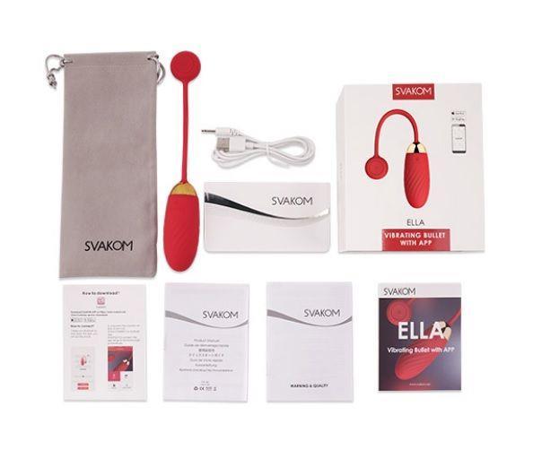 Красное виброяйцо Svakom - Ella с управлением через смартфон