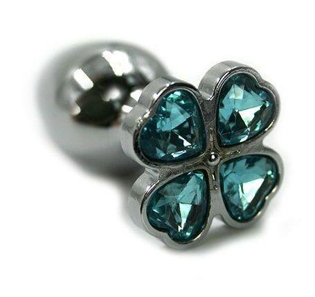 Серебристая анальная пробка с нежно-голубым цветком из кристаллов (6 см)