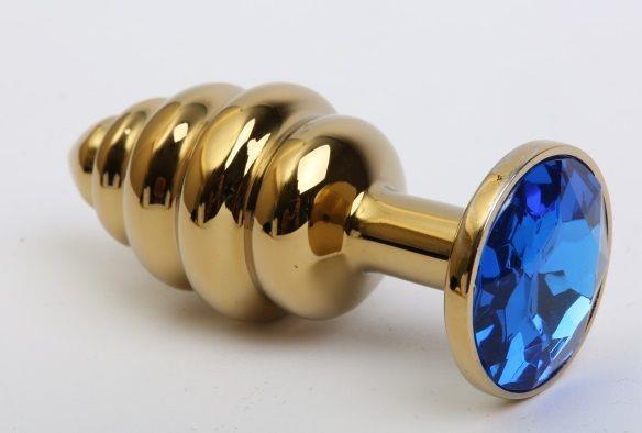 Золотистая рифлёная пробка с синим стразом (8,2 см)