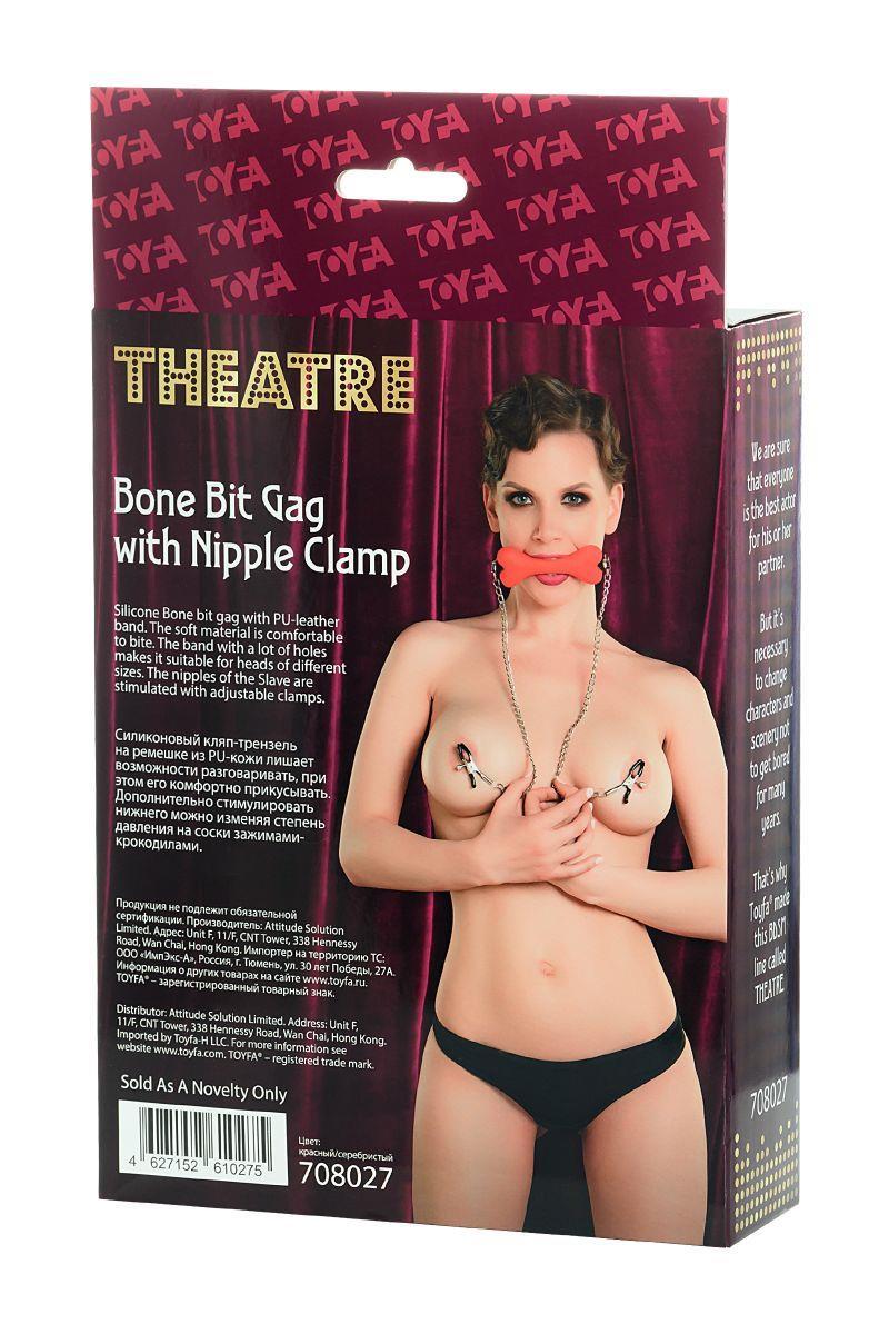 Красный кляп-трензель Theatre в виде косточки с зажимами для сосков