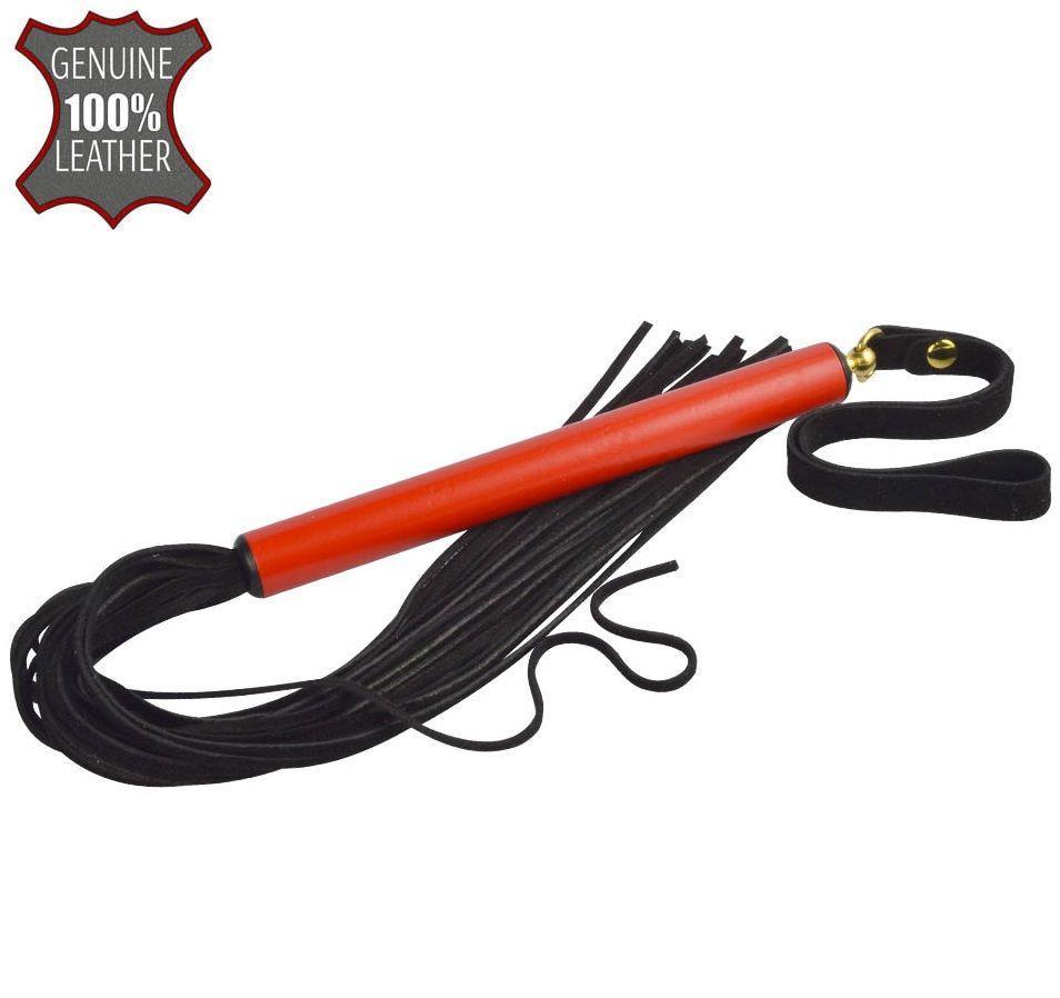Черная многохвостая плеть MIX с красной ручкой - 47 см.