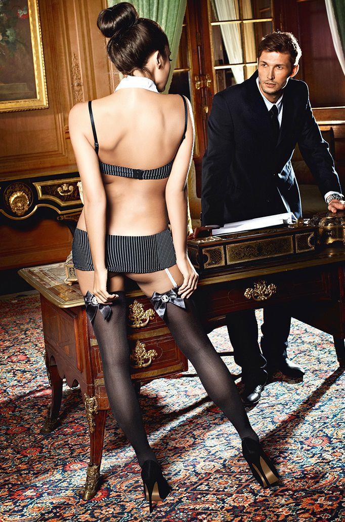 Высокие чёрные чулки секретаря Sexy Secretary