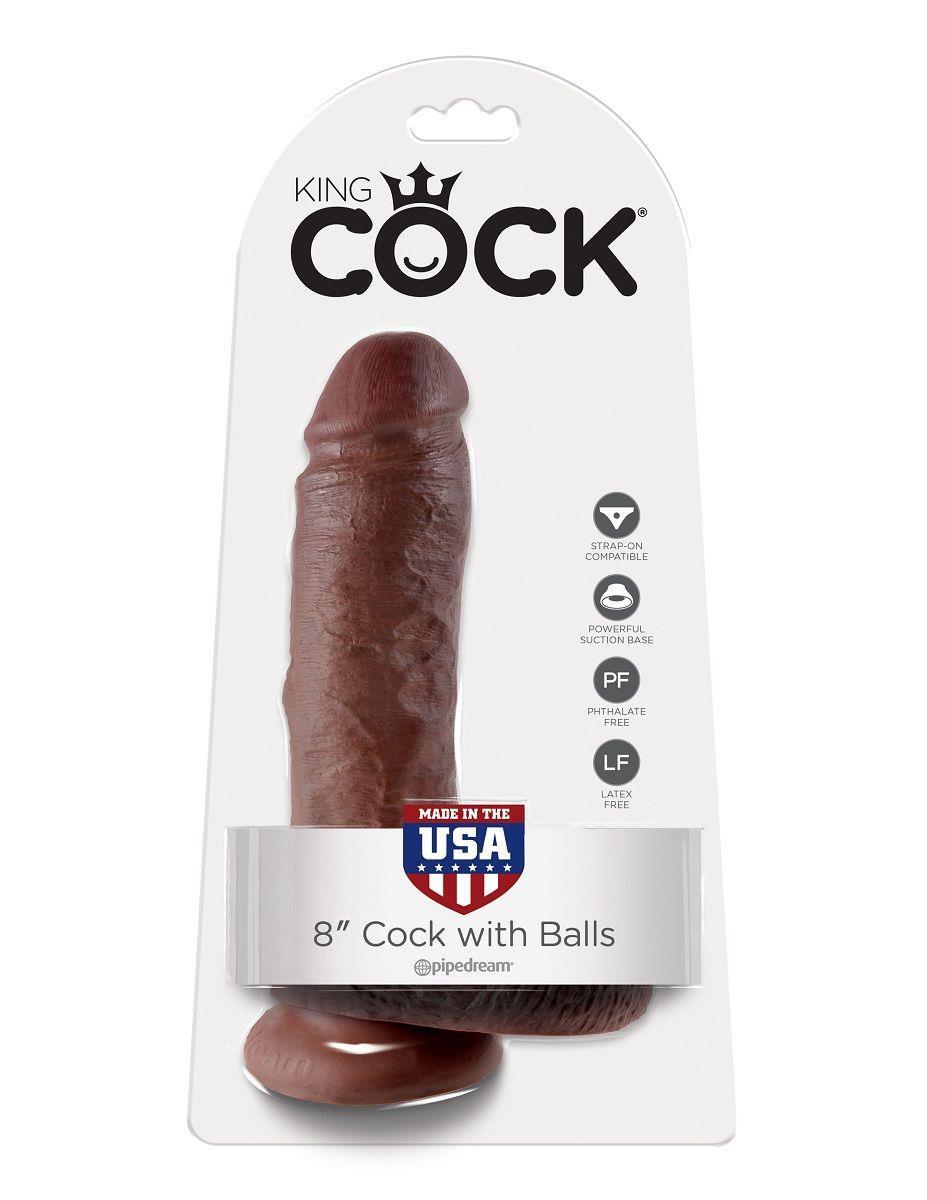 Коричневый фаллоимитатор 8 Cock with Balls - 21,3 см.