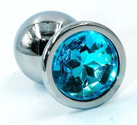 Серебристая хромированная анальная пробка с голубым кристаллом (7 см)