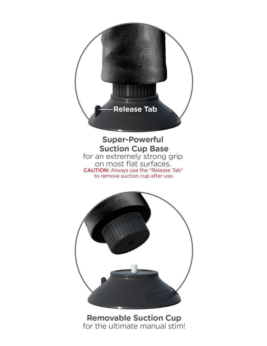 Чёрный виброфаллос со съемной присоской 9 Vibrating Cock with Balls - 24,8 см.
