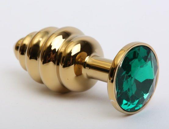 Золотистая рифлёная пробка с зеленым стразом (8,2 см)