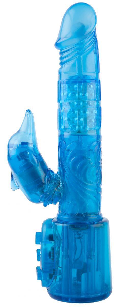 Синий вибратор с клиторальным стимулятором-дельфином - 17,8 см.