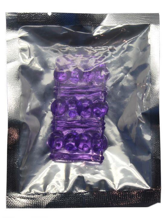 Фиолетовая сквозная насадка на фаллос с пупырышками - 5,5 см.