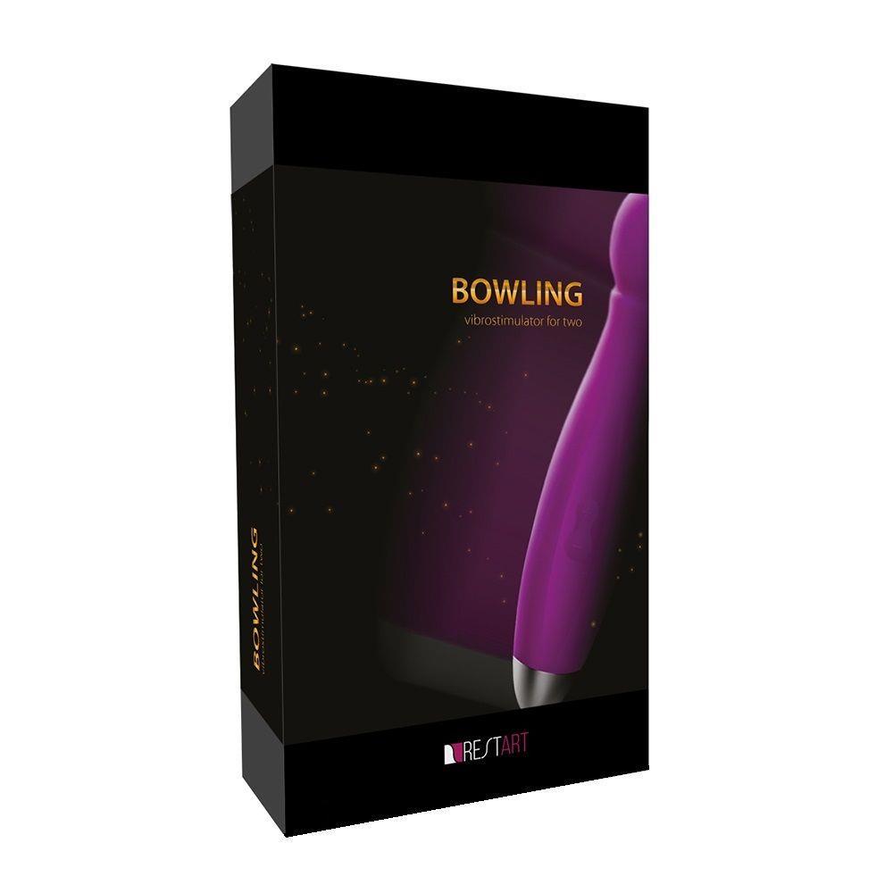 Водонепроницаемый вибратор Bowling с насадками для двоих - 19 см.