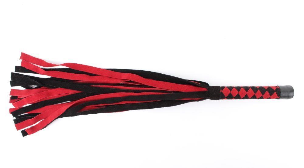 Черно-красная замшевая плеть с ромбами на рукояти - 60 см.