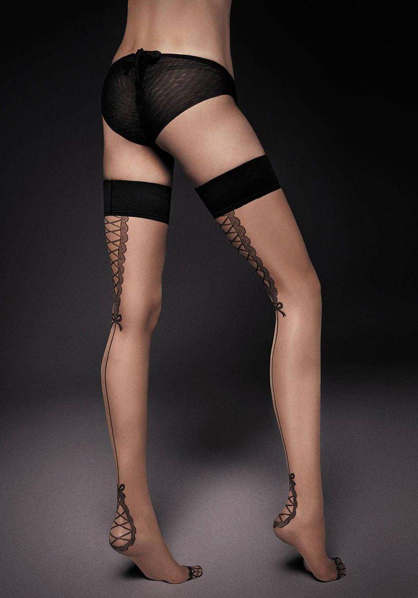 Тонкие чулки Lea с широкой резинкой и имитацией шнуровки сзади