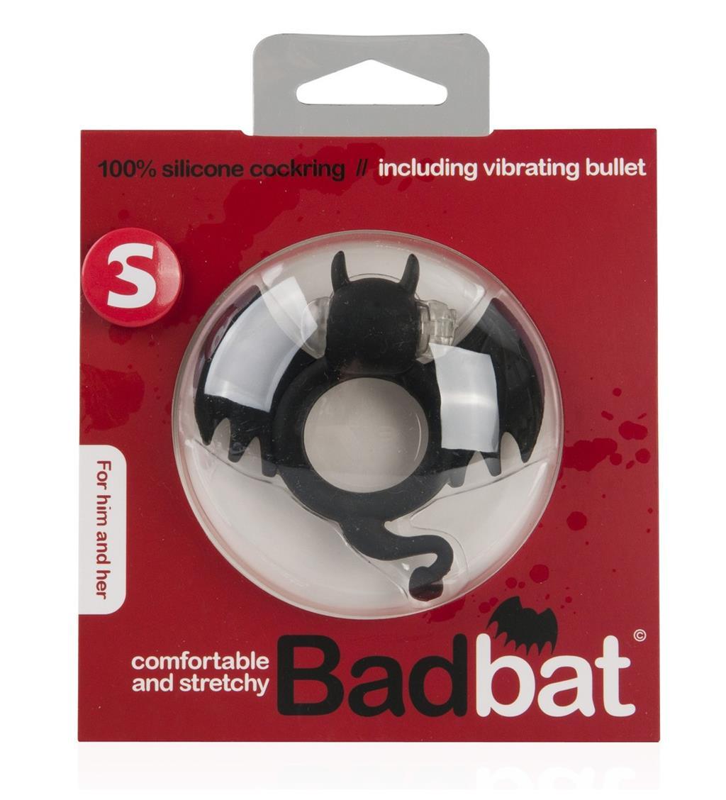 Чёрная вибронасадка на пенис Bad Bat