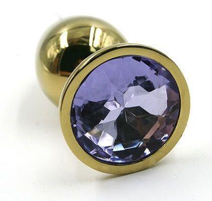 Золотистая алюминиевая анальная пробка с светло-фиолетовым кристаллом (6 см)