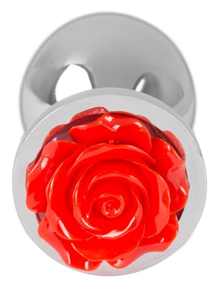 Серебристая втулка с красной розочкой в основании - 9 см.