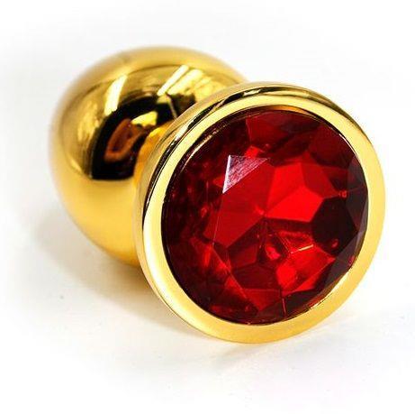Золотистая алюминиевая анальная пробка с красным кристаллом (6 см)