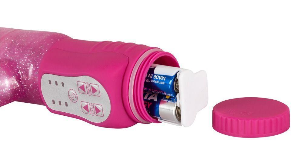 Розовый G-стимулятор с клиторальный отростком Rotating G-spot Rabbit - 25 см.