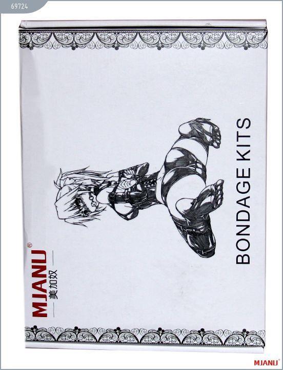 Набор чёрных кожаных БДСМ-аксессуаров: наручники, наножники, ошейник с поводком, кляп