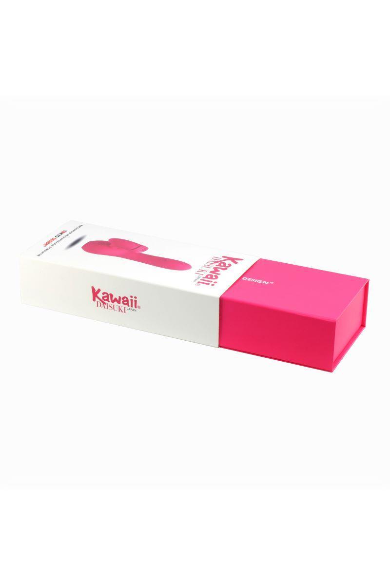 Розовый вибратор с клиторальным стимулятором Kawaii Daisuki 3