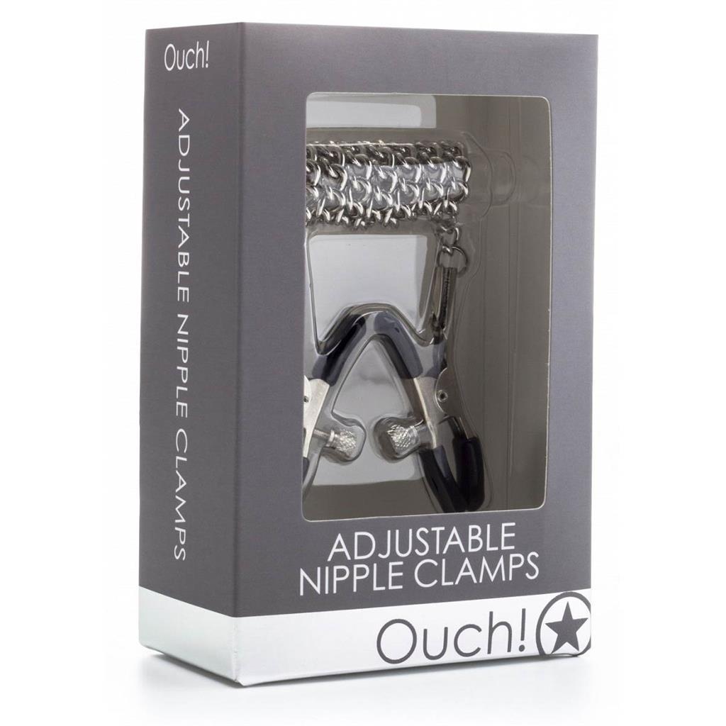 Зажимы на соски с серебристой цепочкой Ouch! - Adjustable Nipple Clamps