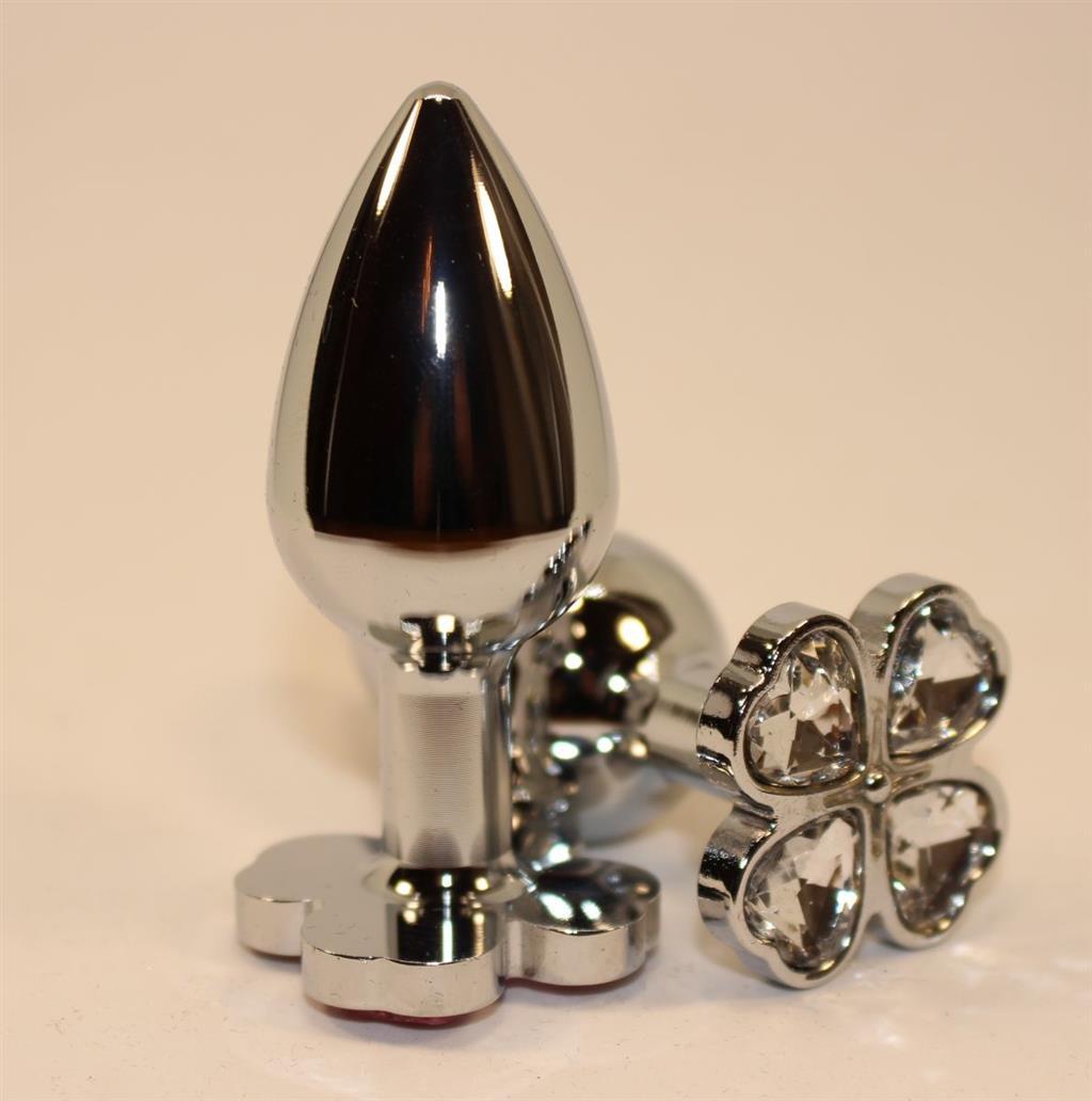 Серебристая пробка с цветком из прозрачных сердечек (7 см)