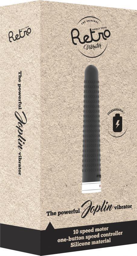 Чёрный вибратор в стиле ретро Joplin - 17 см.