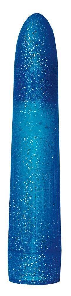 Синий классический вибратор с блёстками - 16,5 см.