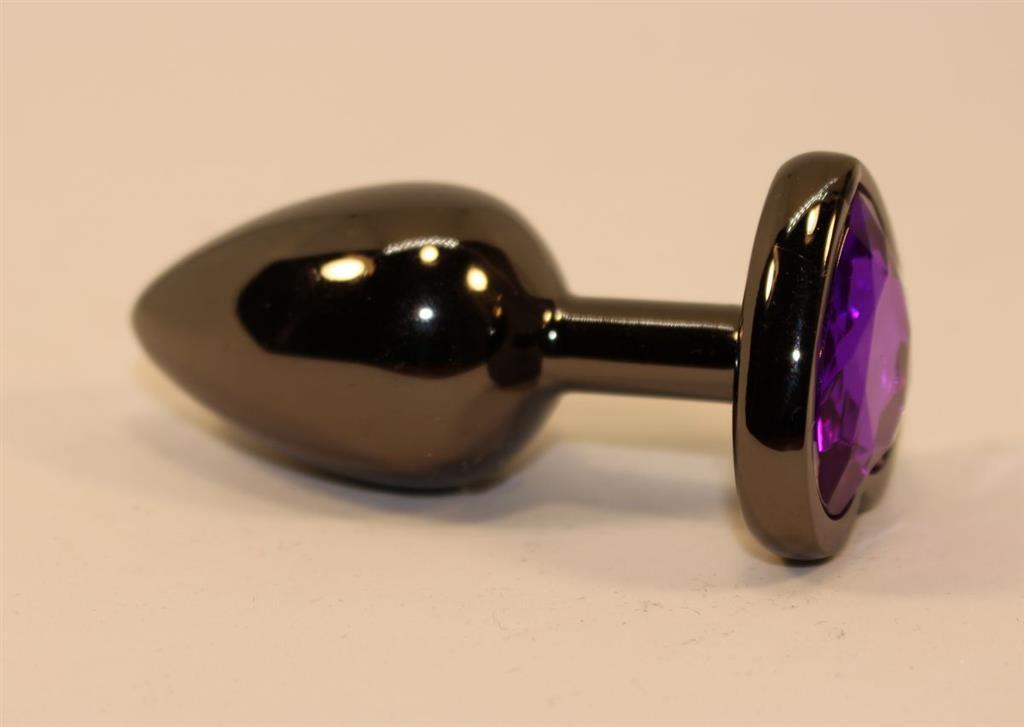 Чёрная анальная пробка с фиолетовым стразом (7 см)