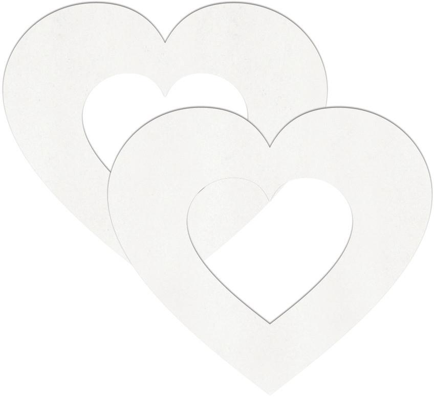 Белые пестисы на грудь в форме сердечек