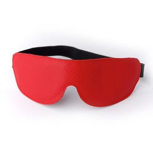 Красная кожаная маска на глаза на резинке