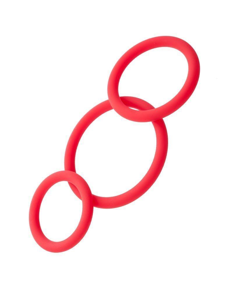 Набор из 3 красных эрекционных колец различного диаметра