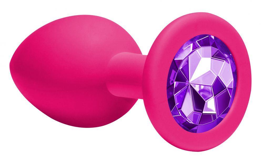 Средняя розовая анальная пробка Emotions Cutie Medium с фиолетовым кристаллом (8,5 см)
