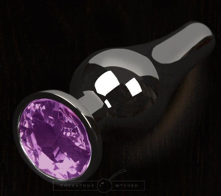 Графитовая удлиненная анальная пробка с фиолетовым кристаллом - 12 см.