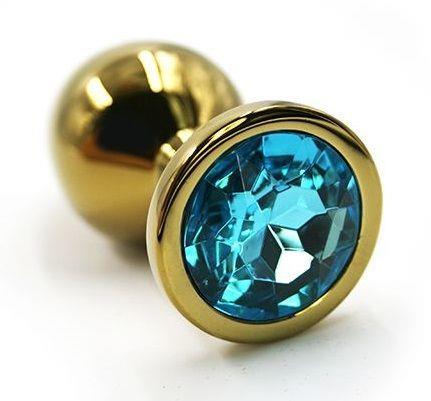 Золотистая алюминиевая анальная пробка с голубым кристаллом (6 см)