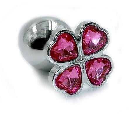 Серебристая алюминиевая анальная пробка с цветком из розовых кристаллов (6 см)