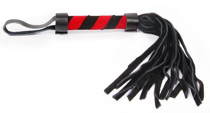 Черно-красная многохвостая плеть с петлей - 27 см.