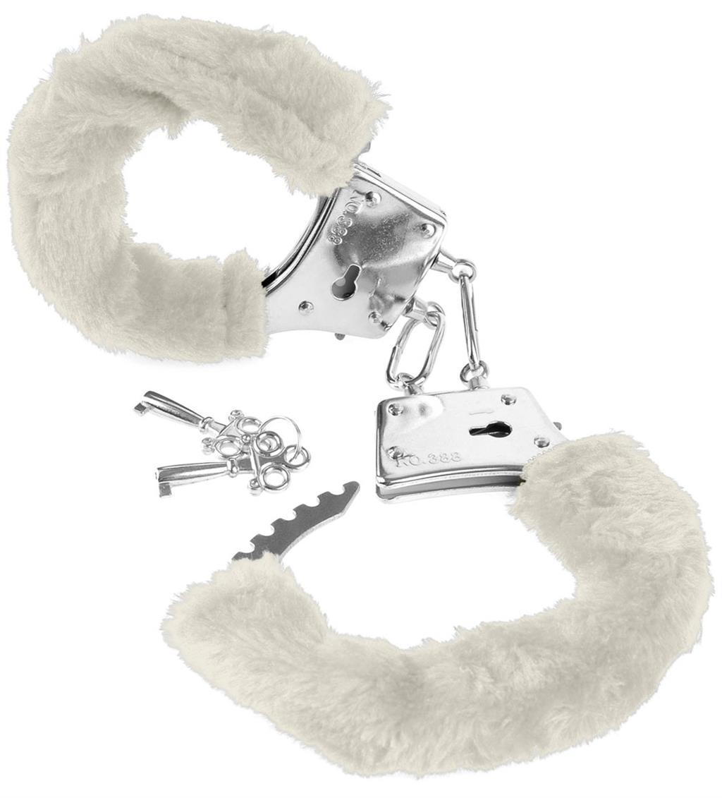 Меховые белые наручники Beginner's Furry Cuffs