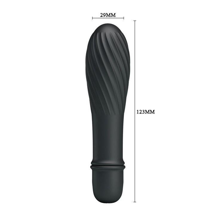 Чёрный вибратор Solomon с бороздками (12,3 см)